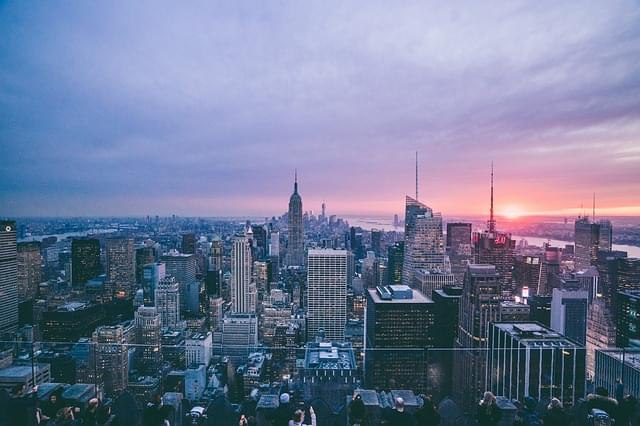 skyline new york al tramonto