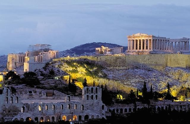 panorama dell'acropoli di atene al tramonto