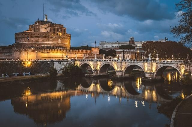 Castel Sant'Angelo panorama la sera