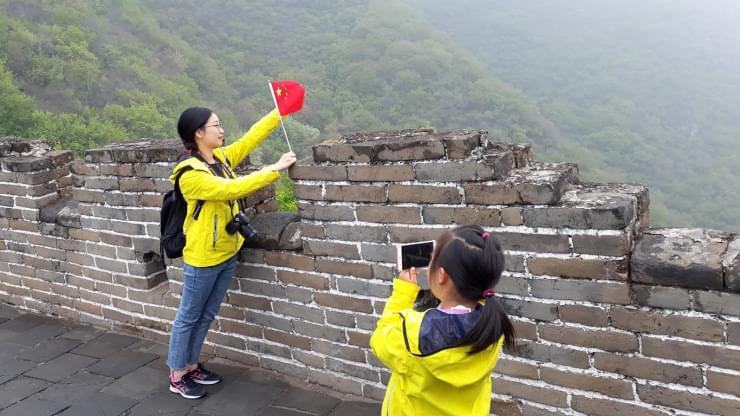 cinesi sulla grande muraglia