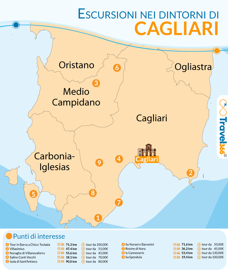 Mappa Sardegna Zona Cagliari.Escursioni Da Cagliari Le Migliori Gite Di Un Giorno Nei Dintorni Di Cagliari