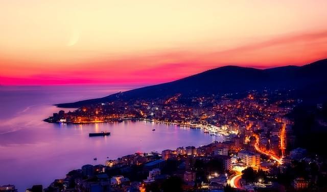 panorama al tramonto di Durazzo, Albania