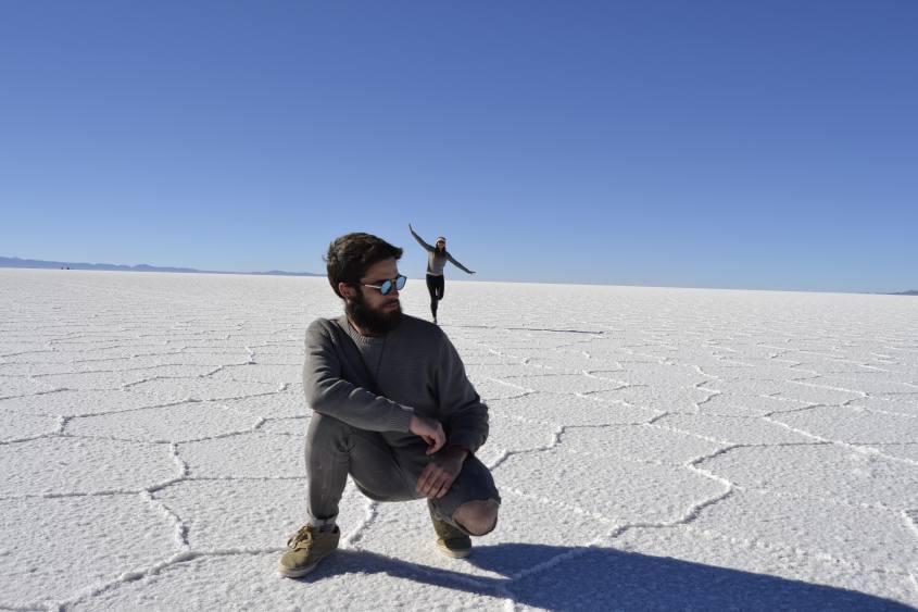 Foto tipica finta prospettiva deserto di sale salar di uyuni bolivia