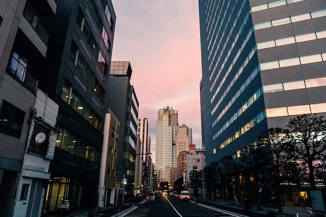 giappone citta di tokyo sera