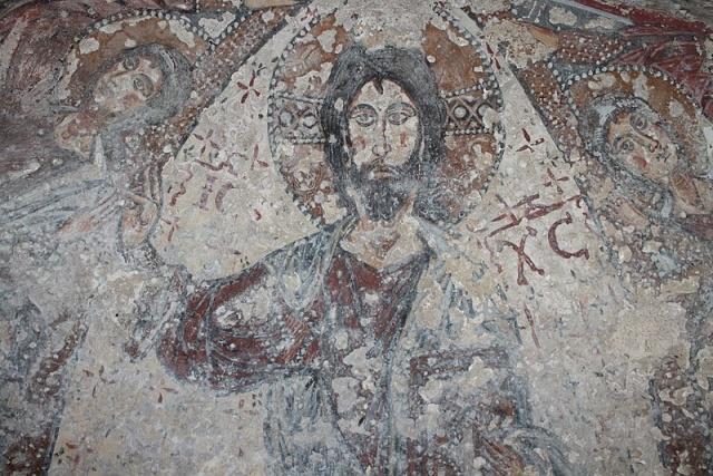 grotte del crocifisso modica particolare affresco cristo pantocratore
