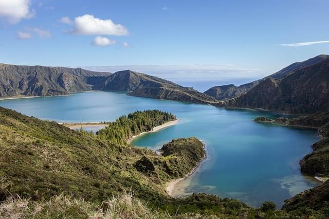 panorama isole azzorre lago di fuoco