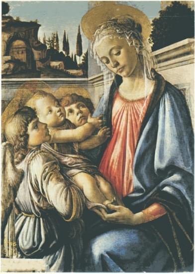 madonna con bambino san giovannino e due angeli sandro botticelli
