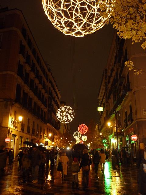 madrid street notte illuminazione