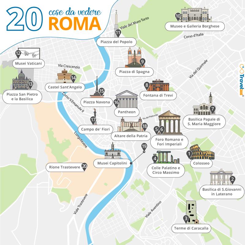 Roma Centro Cartina.Cosa Vedere A Roma Le 20 Migliori Attrazioni E Cose Da Fare
