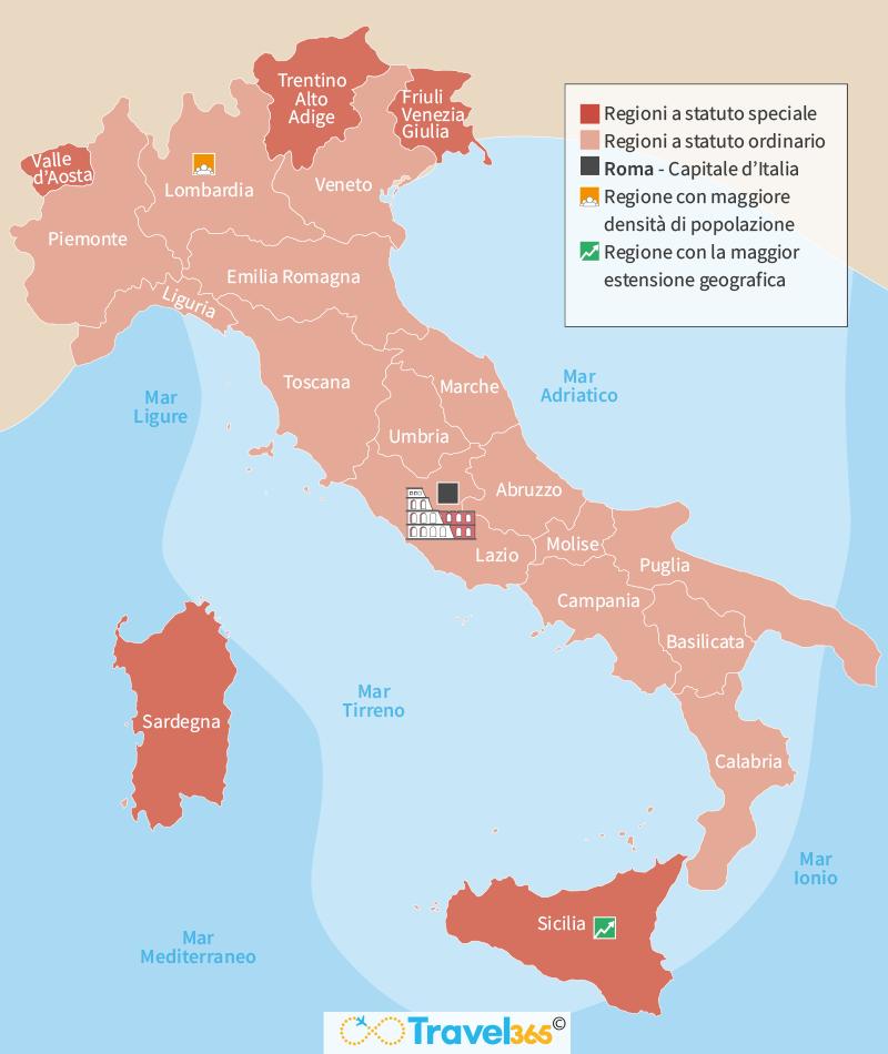 Cartina D Italia Con Capoluoghi Di Regione.Regioni Italiane Info Classifiche E Curiosita