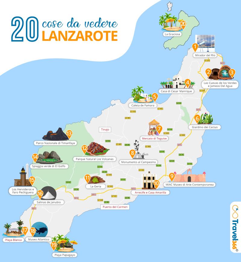 Cartina Lanzarote.20 Cose Da Vedere Assolutamente A Lanzarote