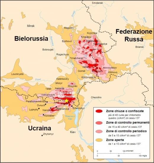 Mappa zone di esclusione chernobyl