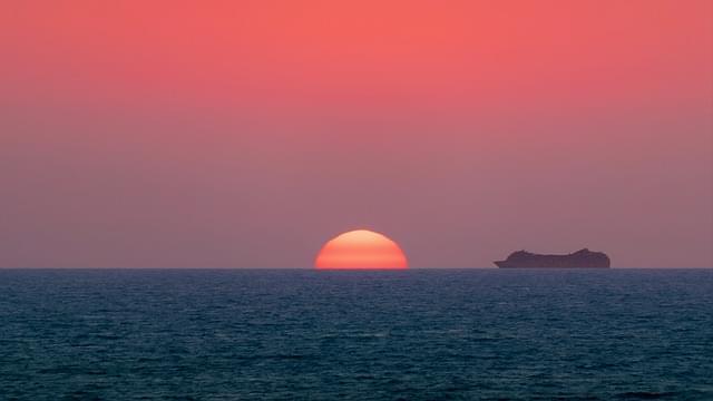 mare nave acqua tramonto cielo