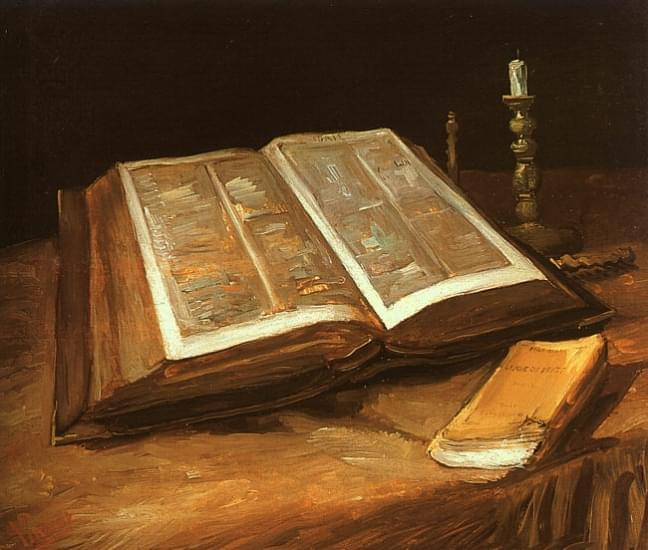 natura morta con bibbia