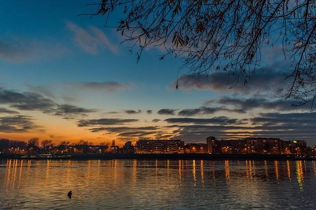 tramonto su novi sad, serbia