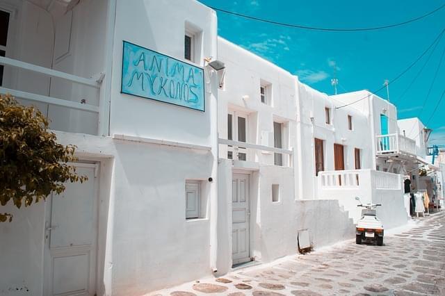 panorama grecia isola mykonos case