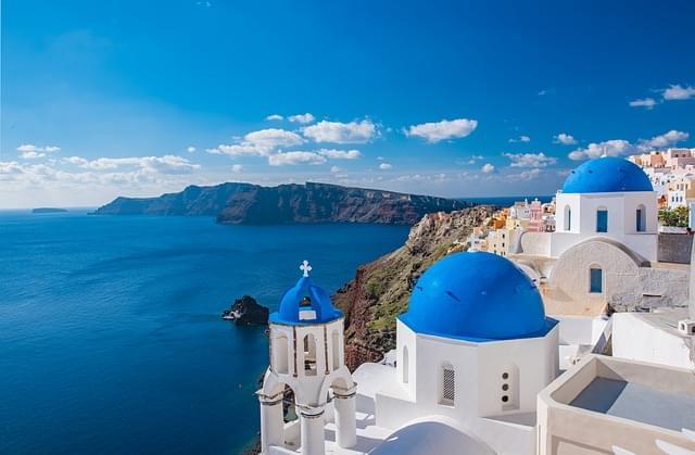 panorama sul mare di santorini
