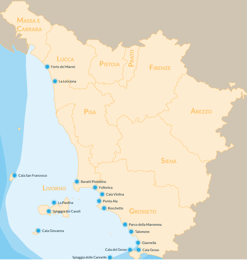 Cartina Italia Zone Balneari.Le 17 Spiagge Piu Belle Della Toscana