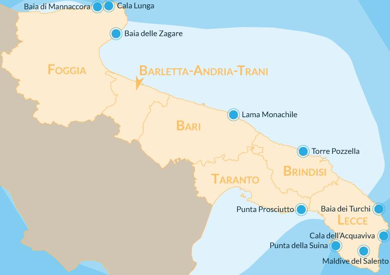 Cartina Puglia Del Sud.Le 10 Spiagge Piu Belle Della Puglia