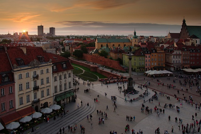 varsavia citta vecchia tramonto