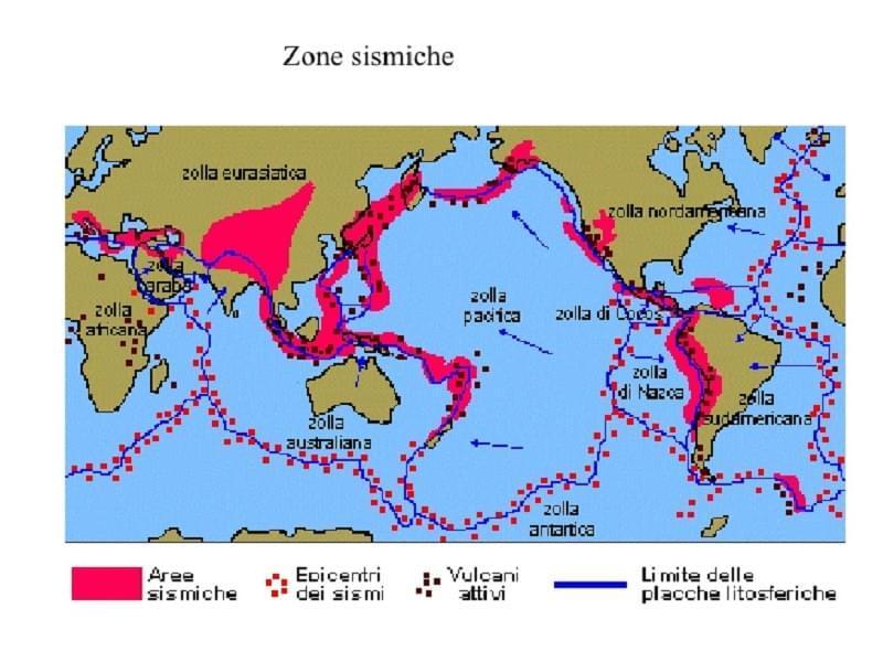 mappa delle zone sismiche nel mondo